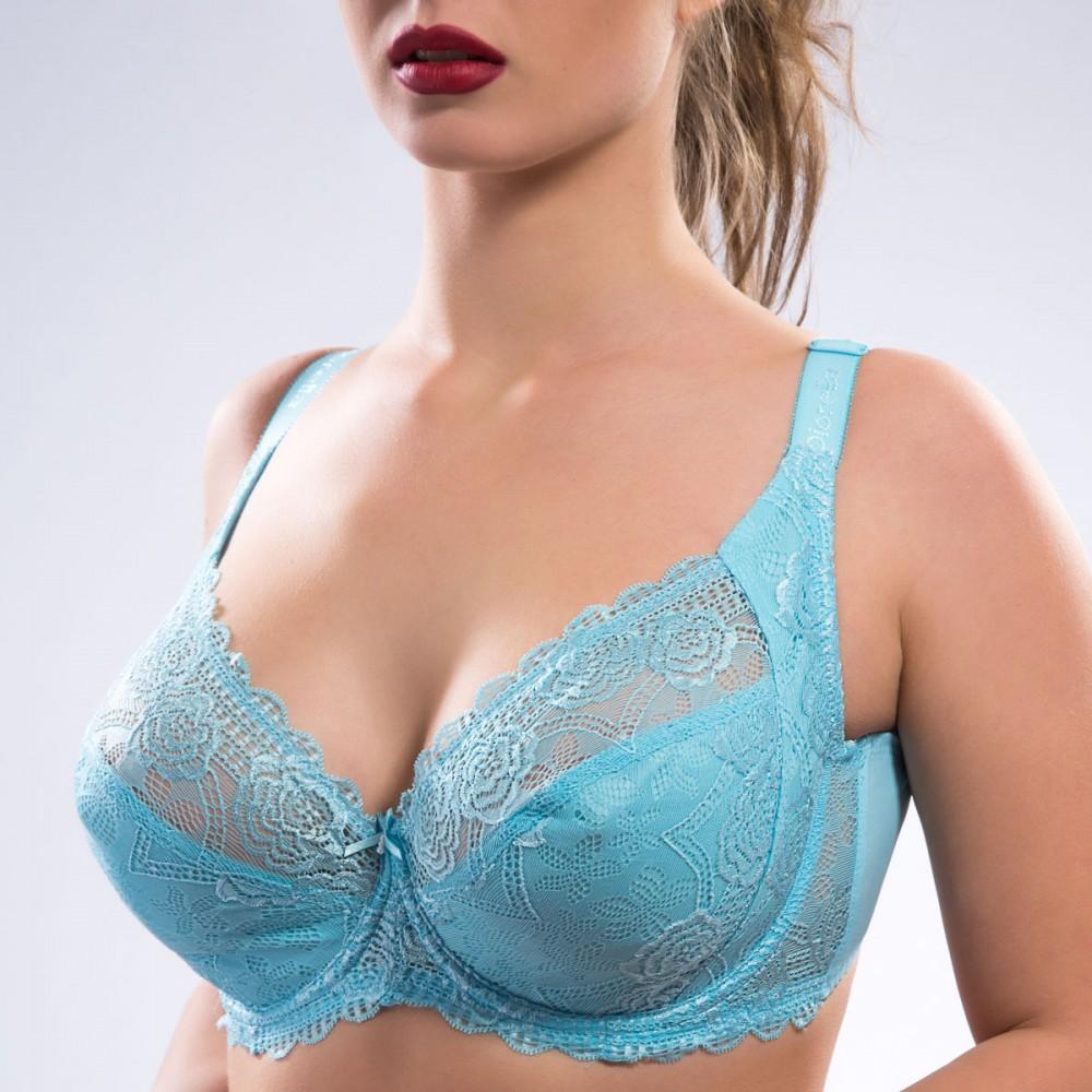 Жіночий бюстгальтер без поролона голубого кольору Diorella 34103 на чашку F Арт.1140143